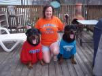 One of our awesome alumna, Dana, and her two cute pups who didn't want to be left out of showing their CJ spirit.